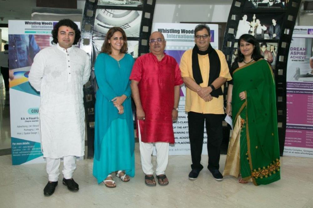 L-R Deepak Mazumdar's son Rupak , Meghna Ghai Puri, President WWI, Deepak Mazumdar, Subhash Ghai, Founder, WWI along with Laily Dutta, HOD, Scho